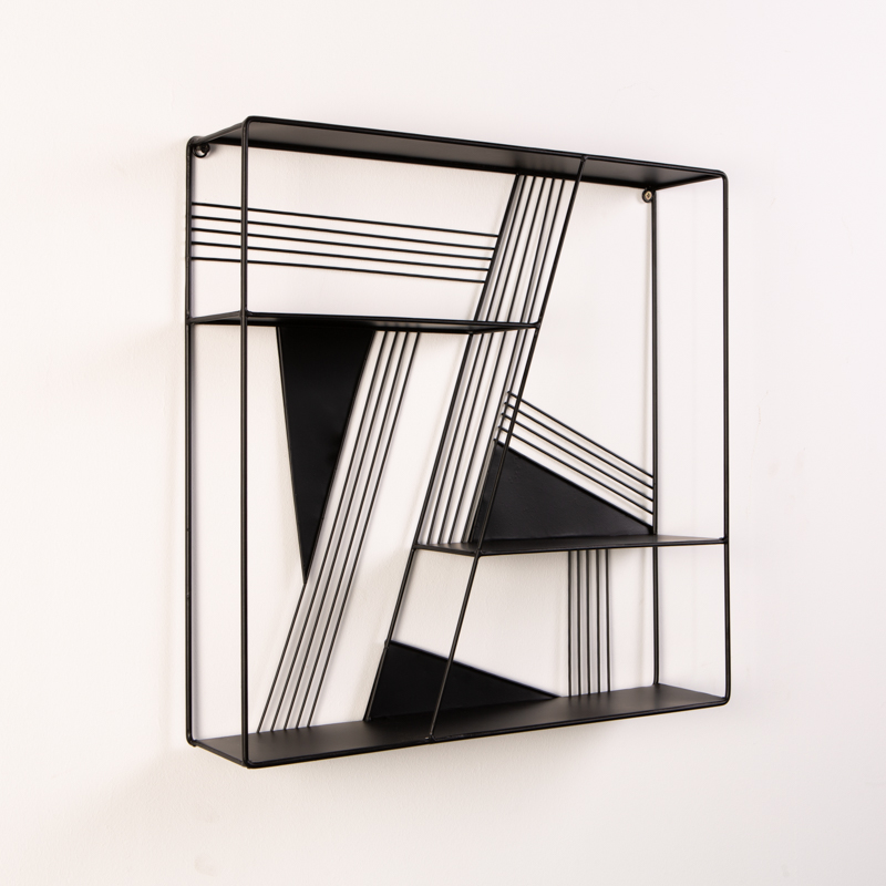 WALL SHELF - BLACK RETRO LINES