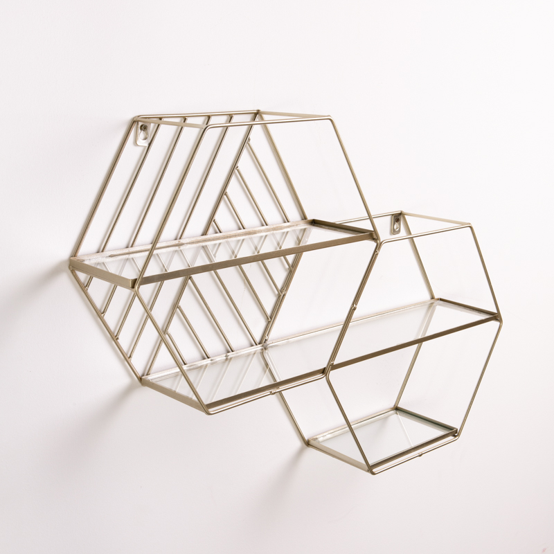 WALL SHELF - HEXAGONS GOLD