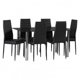 Blair Black Glass Dining Table & 6 x Betty Dining Chair