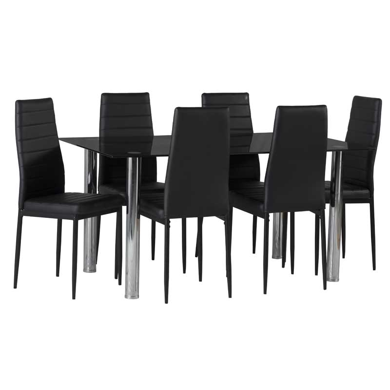 Dior Black Glass Dining Table 6 X Betty Dining Chair Decofurn