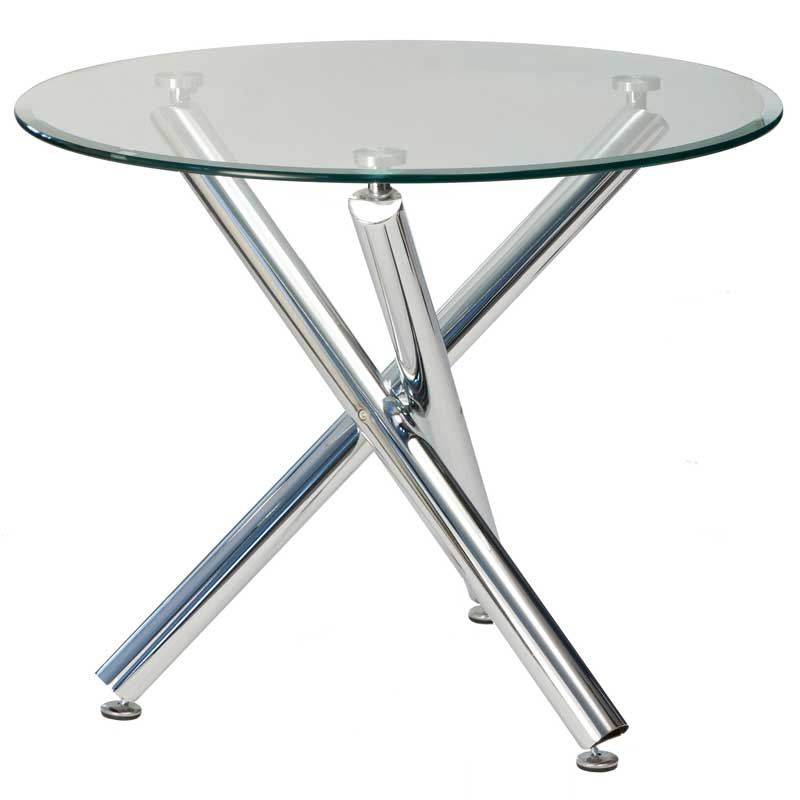 Bon Demi Round Glass Top Dining Table