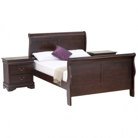 Diana wooden sleigh bed 2 x diana pedestal decofurn for Diana bedroom set