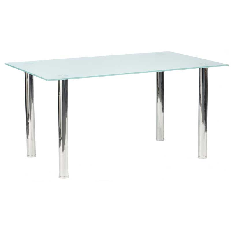 Dior frosted glass dining table 6 x betty dining chair for Dining room glass table