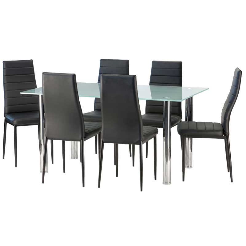 Blair Frosted Glass Dining Table U0026 6 X Betty Dining Chair ...