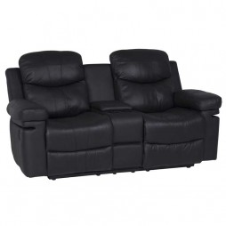 Rio-Top-Leather-Upper-2-Seater-Recliner-with-console---Black