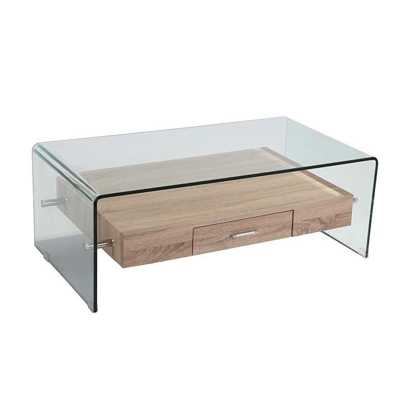 Ivy 120x60cm 12mm Tempered Glass Coffee Table With Drawer