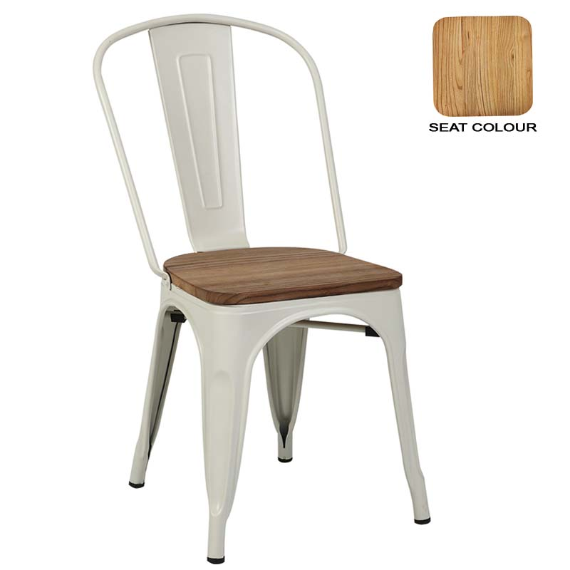 Tolix Dining Chair with Wood • Decofurn Factory Shop