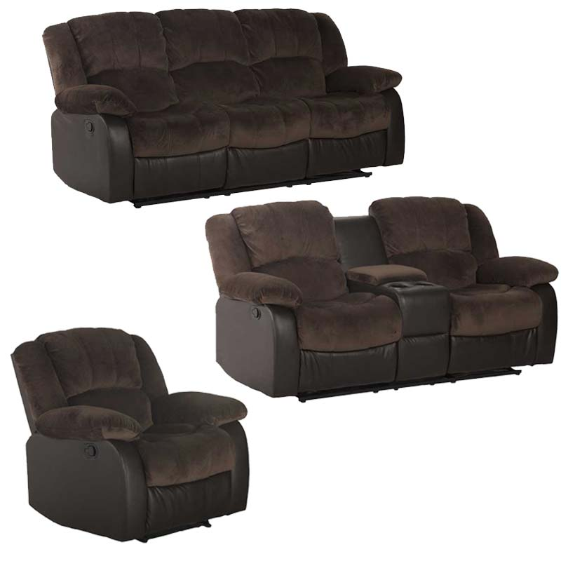 Blake 3 Piece Recliner Set With Console Decofurn Factory
