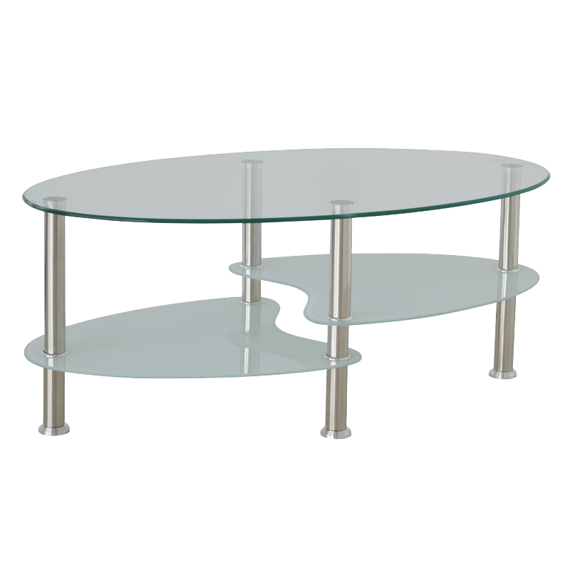 Lilly round glass top coffee table decofurn factory shop for Glass side tables for living room