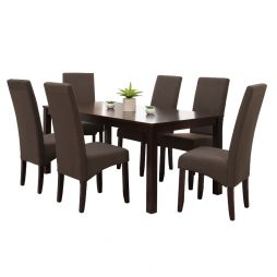 7 PC Set Aero Dining Table and Noble Fabric Coffee Chairs web image