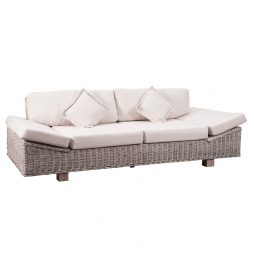 Kubu Whitewash Luxury Couch wcushions side view
