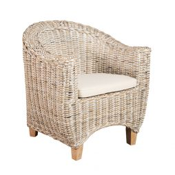 Kubu Whitewash Tub armchair side view