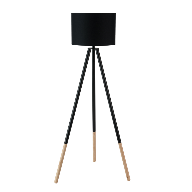 LAMP FLOOR-WOODEN TRIPOD-BLACK FABRIC SHADE 156cm
