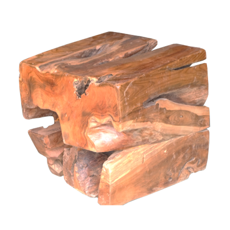SOLID ROOT RUSTIC 45cm SQUARE STOOL