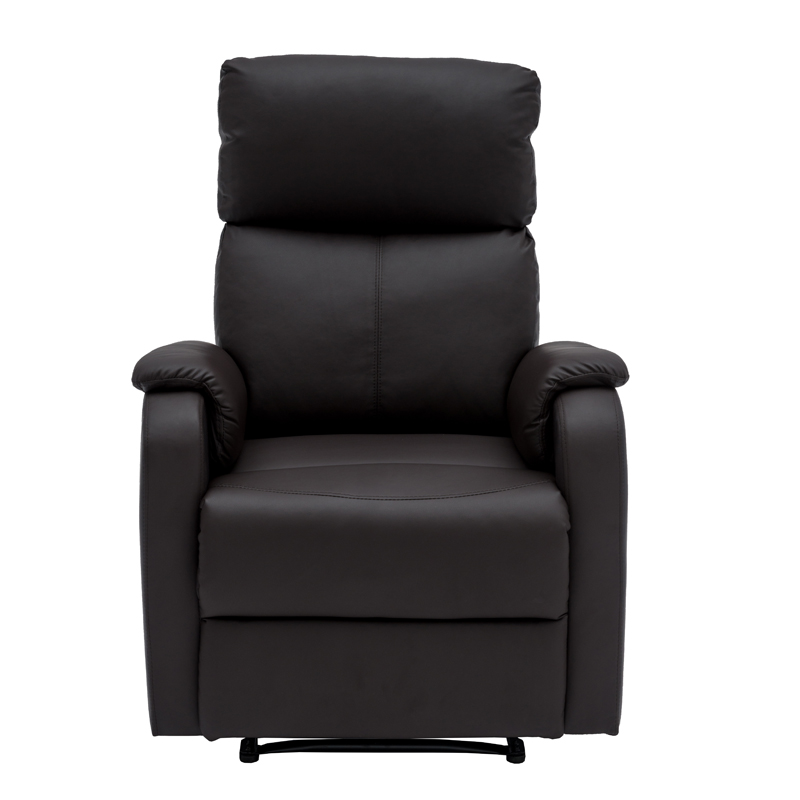 BO LEATHER TOUCH ARMCHAIR RECLINER BROWN FRONT